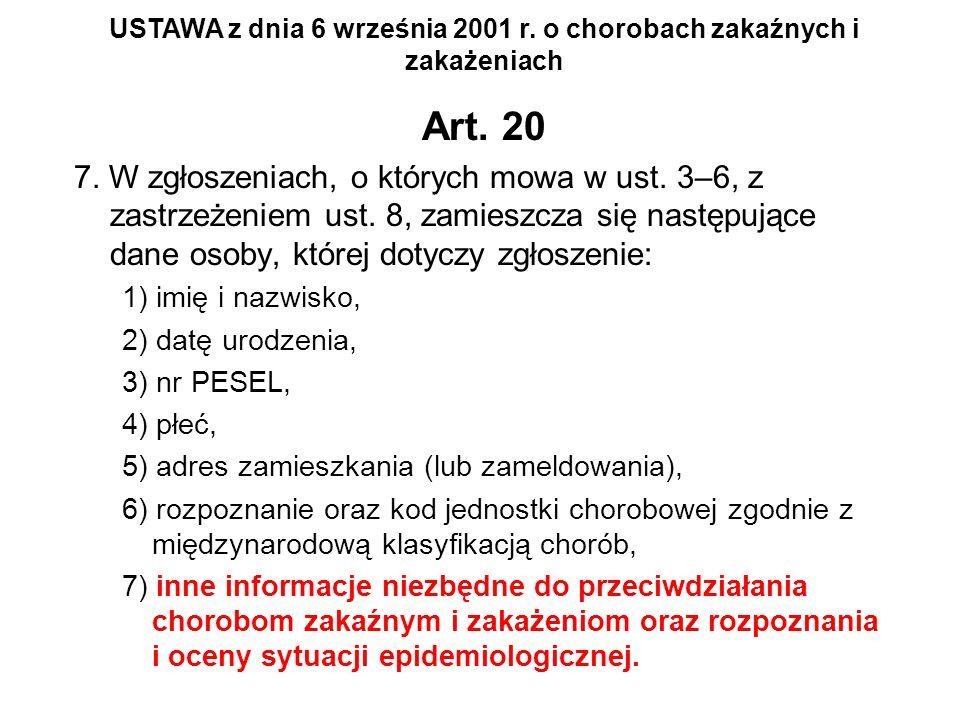 USTAWA z dnia 6 września 2001 r. o chorobach zakaźnych i zakażeniach