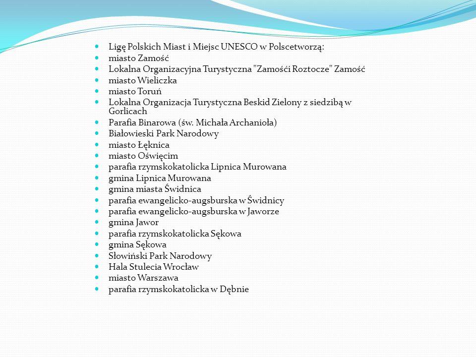 Ligę Polskich Miast i Miejsc UNESCO w Polscetworzą:
