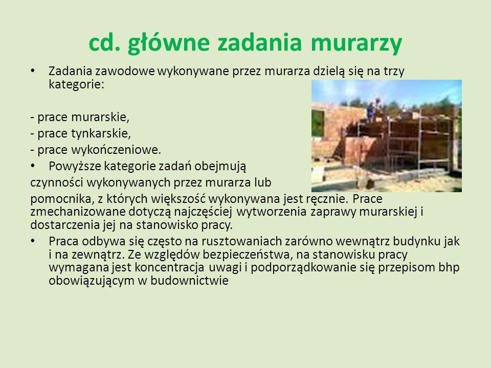 cd. główne zadania murarzy