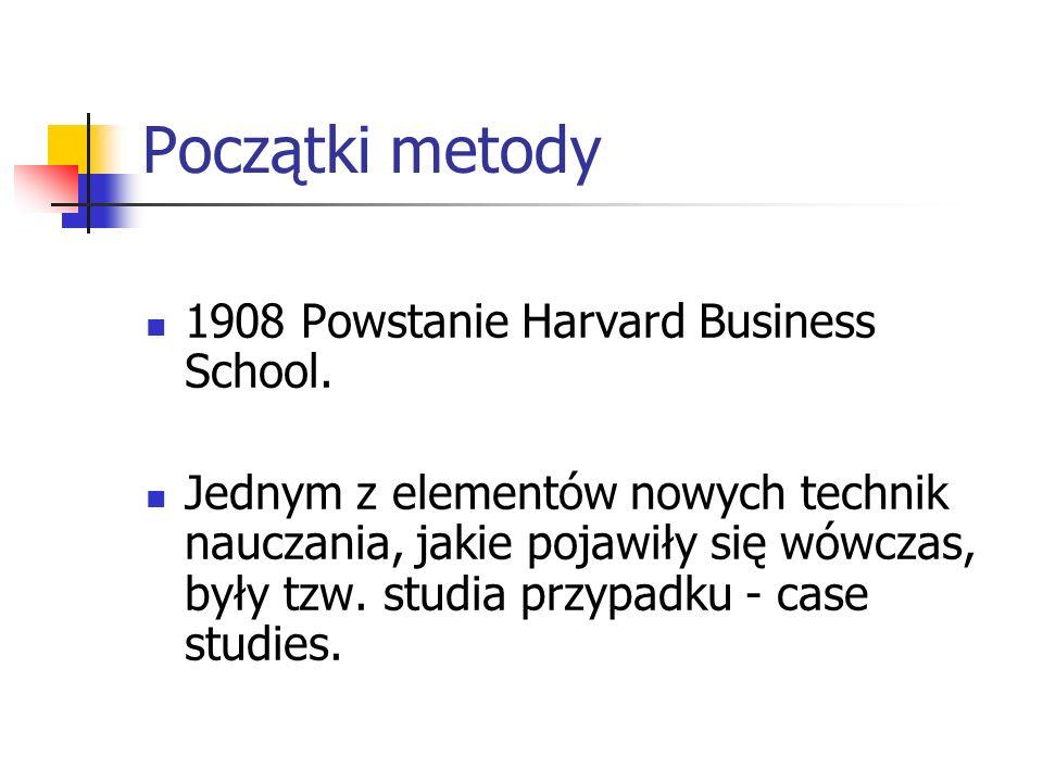 Początki metody 1908 Powstanie Harvard Business School.