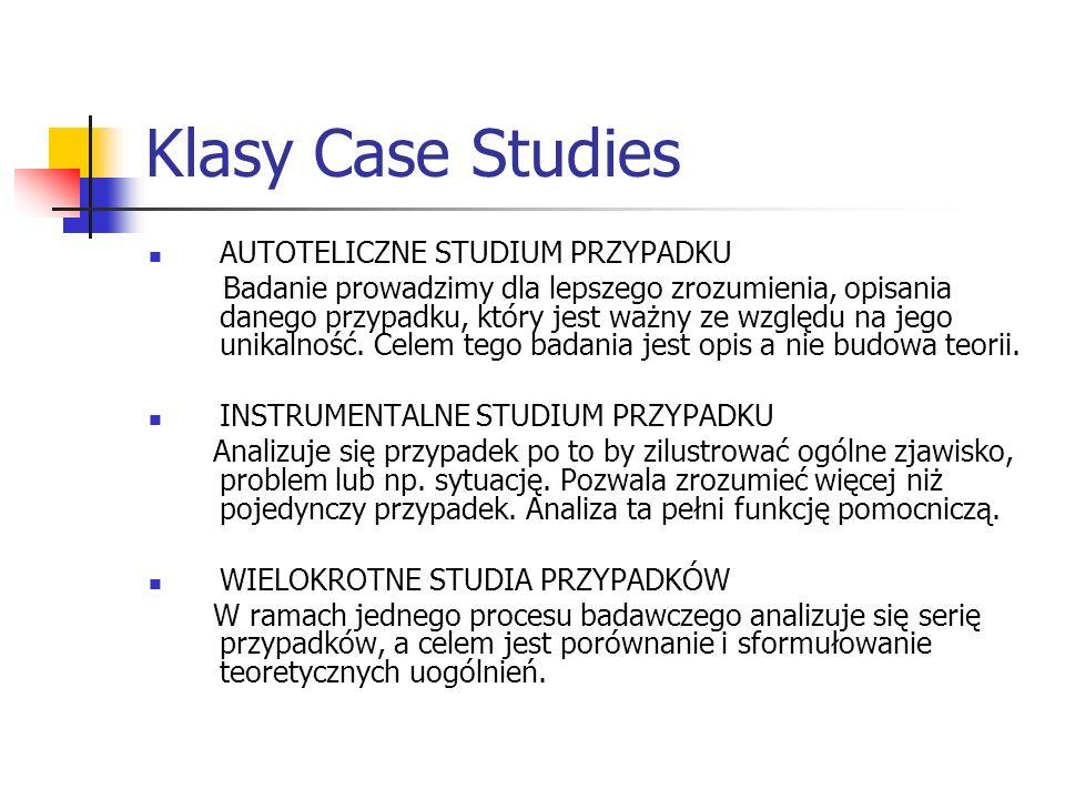 Klasy Case Studies AUTOTELICZNE STUDIUM PRZYPADKU