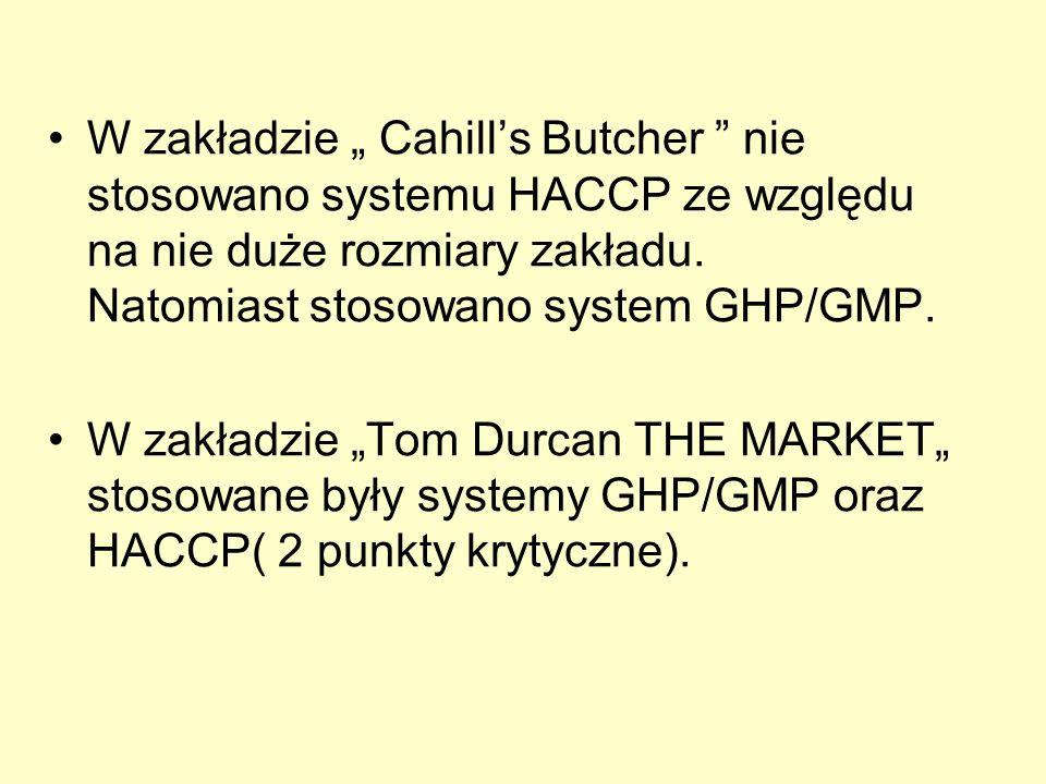 """W zakładzie """" Cahill's Butcher nie stosowano systemu HACCP ze względu na nie duże rozmiary zakładu. Natomiast stosowano system GHP/GMP."""