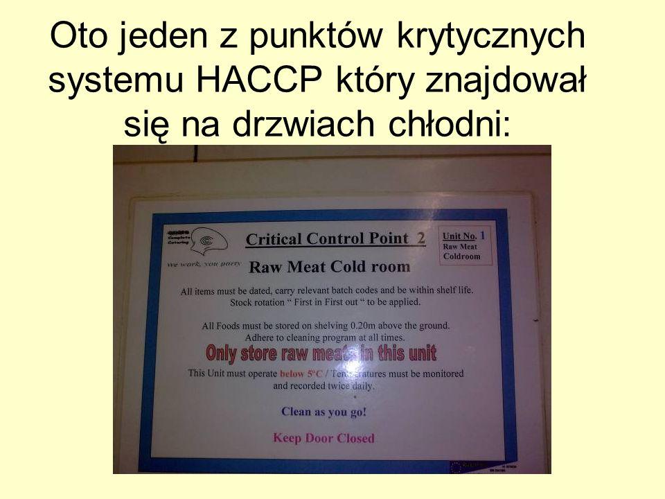 Oto jeden z punktów krytycznych systemu HACCP który znajdował się na drzwiach chłodni: