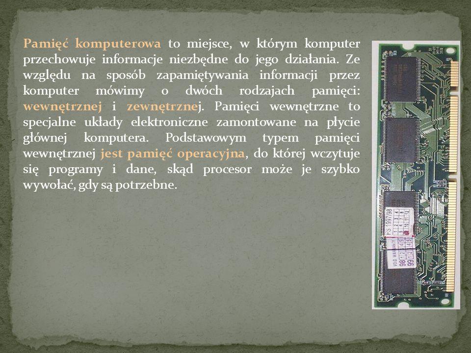 Pamięć komputerowa to miejsce, w którym komputer przechowuje informacje niezbędne do jego działania.