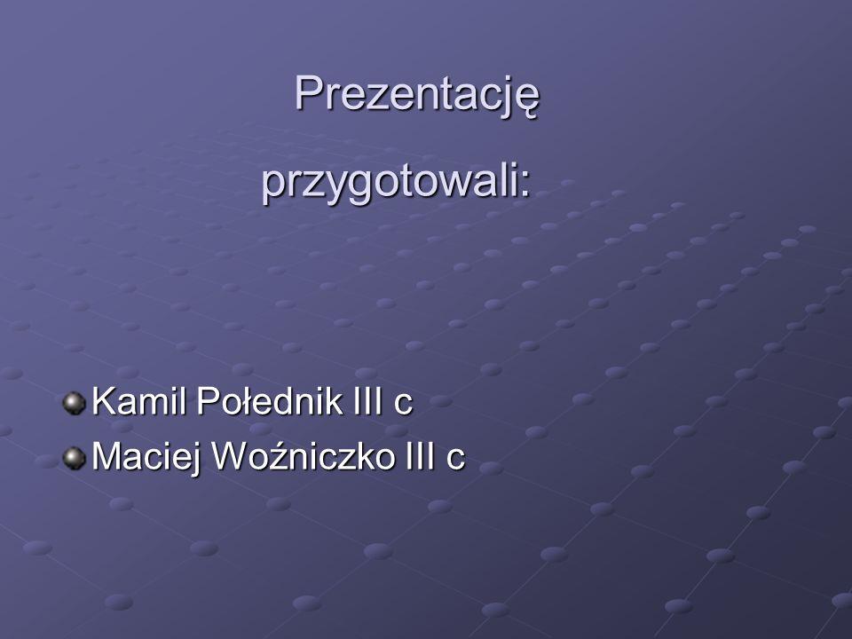 Prezentację przygotowali: Kamil Połednik III c Maciej Woźniczko III c