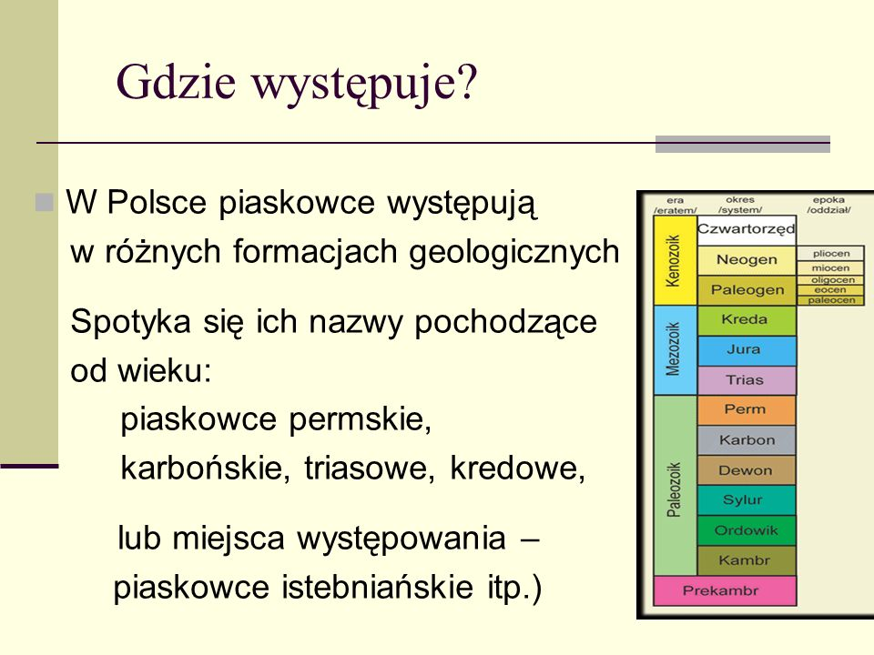 Gdzie występuje W Polsce piaskowce występują