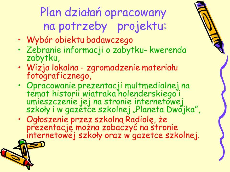 Plan działań opracowany na potrzeby projektu: