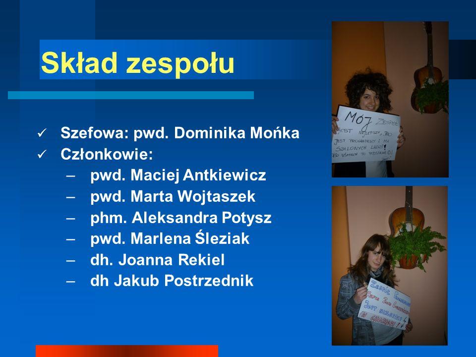 Skład zespołu Szefowa: pwd. Dominika Mońka Członkowie:
