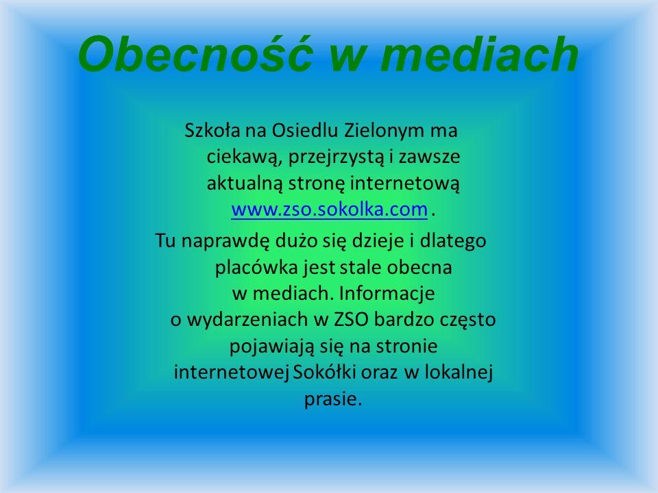 Obecność w mediachSzkoła na Osiedlu Zielonym ma ciekawą, przejrzystą i zawsze aktualną stronę internetową www.zso.sokolka.com .
