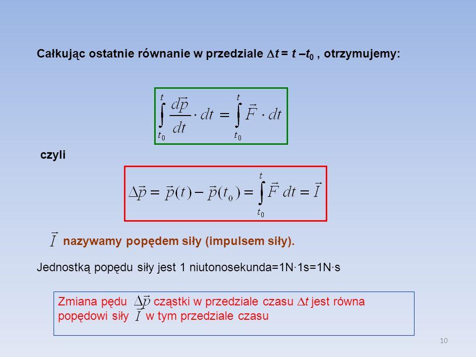 Całkując ostatnie równanie w przedziale t = t –t0 , otrzymujemy: