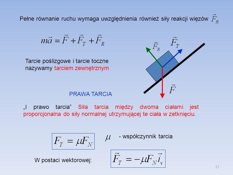 Pełne równanie ruchu wymaga uwzględnienia również siły reakcji więzów