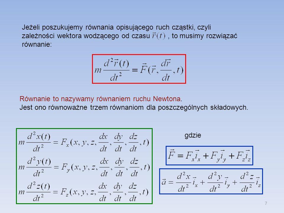 Jeżeli poszukujemy równania opisującego ruch cząstki, czyli zależności wektora wodzącego od czasu , to musimy rozwiązać równanie: