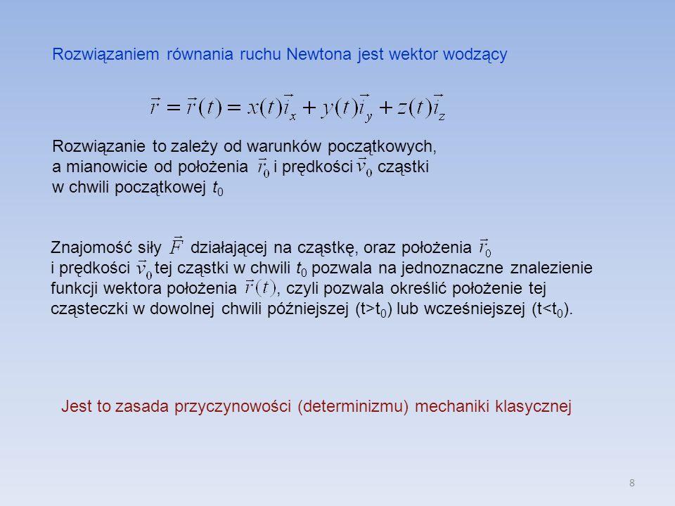 Rozwiązaniem równania ruchu Newtona jest wektor wodzący