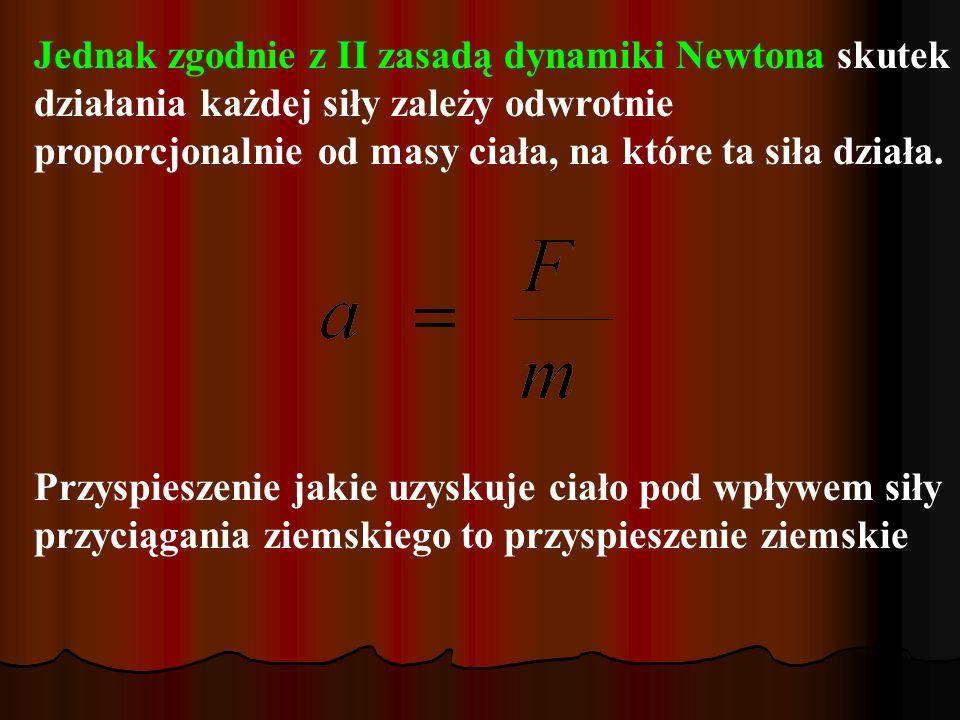Jednak zgodnie z II zasadą dynamiki Newtona skutek działania każdej siły zależy odwrotnie proporcjonalnie od masy ciała, na które ta siła działa.