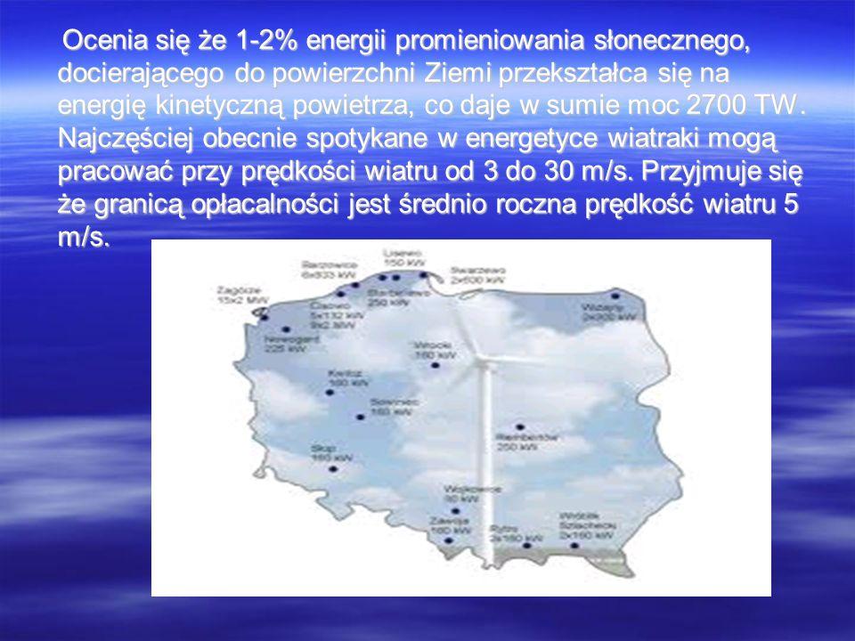 Ocenia się że 1-2% energii promieniowania słonecznego, docierającego do powierzchni Ziemi przekształca się na energię kinetyczną powietrza, co daje w sumie moc 2700 TW.