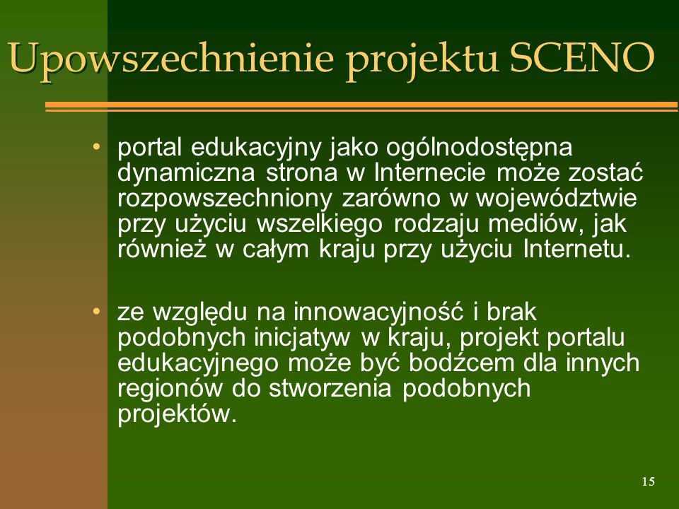Upowszechnienie projektu SCENO