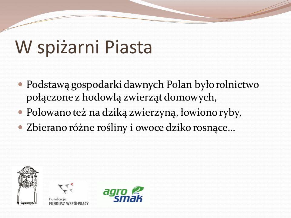 W spiżarni Piasta Podstawą gospodarki dawnych Polan było rolnictwo połączone z hodowlą zwierząt domowych,