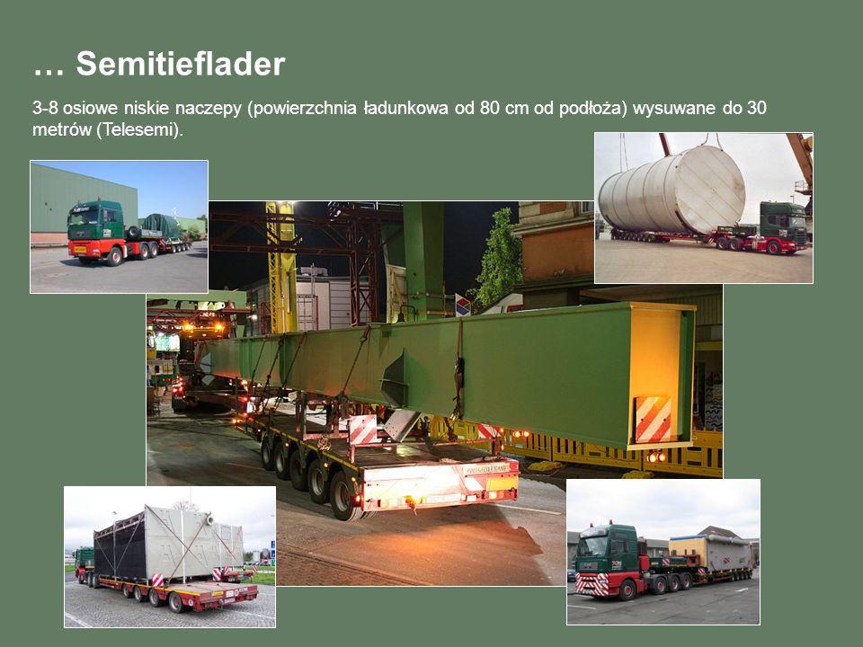 … Semitieflader 3-8 osiowe niskie naczepy (powierzchnia ładunkowa od 80 cm od podłoża) wysuwane do 30 metrów (Telesemi).