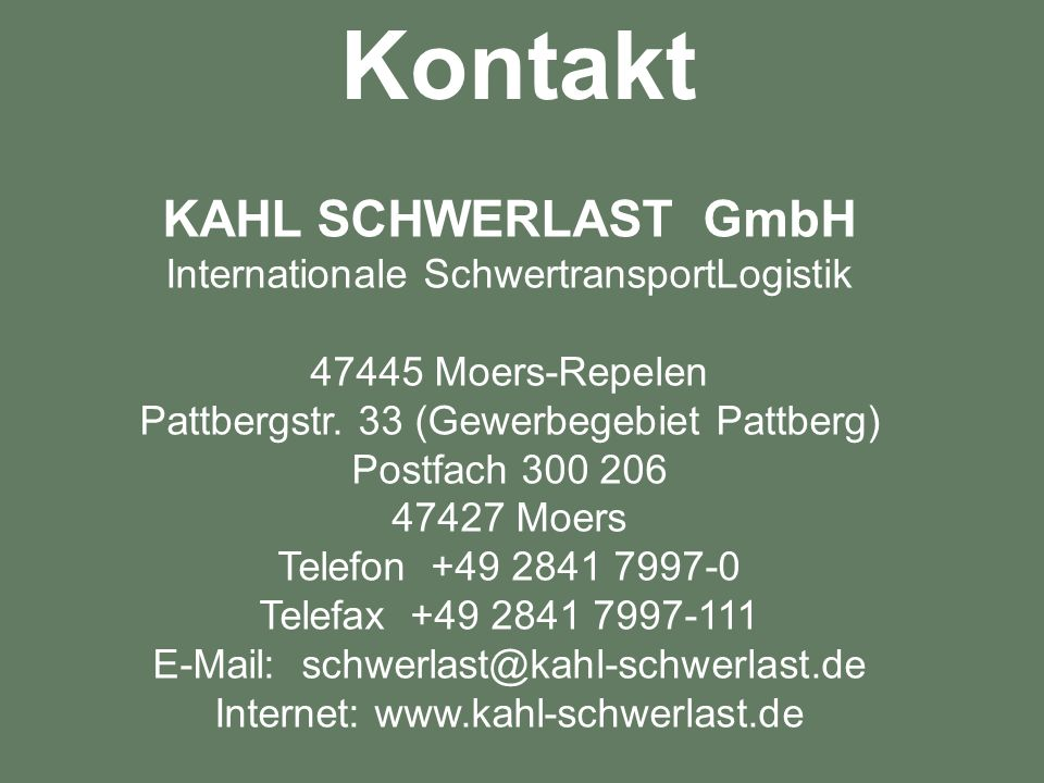 Kontakt KAHL SCHWERLAST GmbH Internationale SchwertransportLogistik