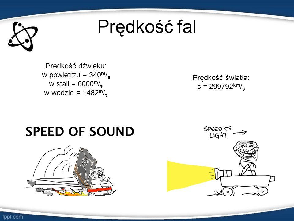 Prędkość fal Prędkość dźwięku: w powietrzu = 340m/s w stali = 6000m/s