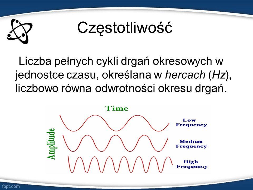 CzęstotliwośćLiczba pełnych cykli drgań okresowych w jednostce czasu, określana w hercach (Hz), liczbowo równa odwrotności okresu drgań.