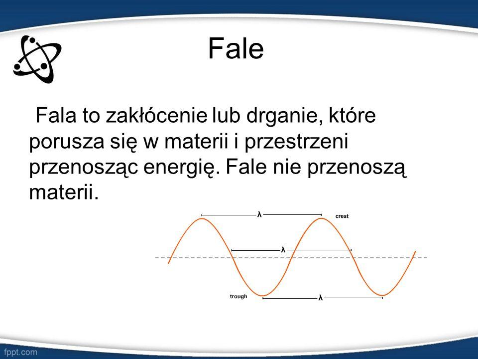 Fale Fala to zakłócenie lub drganie, które porusza się w materii i przestrzeni przenosząc energię.