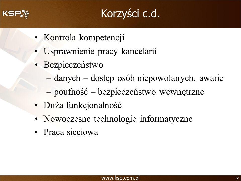 Korzyści c.d. Kontrola kompetencji Usprawnienie pracy kancelarii