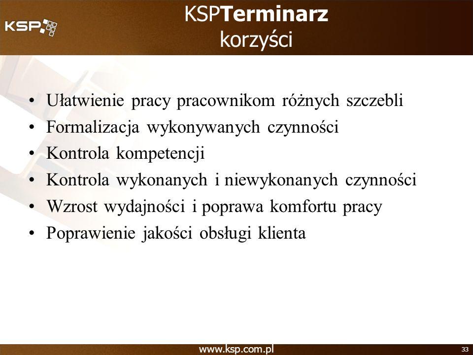 KSPTerminarz korzyści