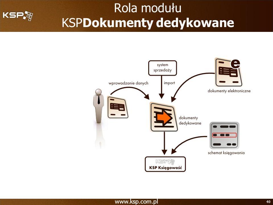 Rola modułu KSPDokumenty dedykowane