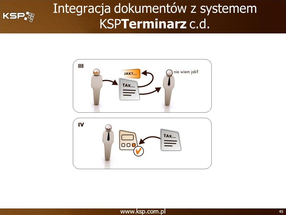 Integracja dokumentów z systemem KSPTerminarz c.d.