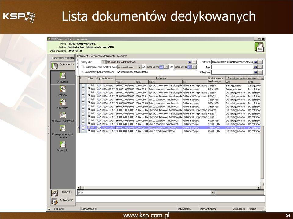 Lista dokumentów dedykowanych