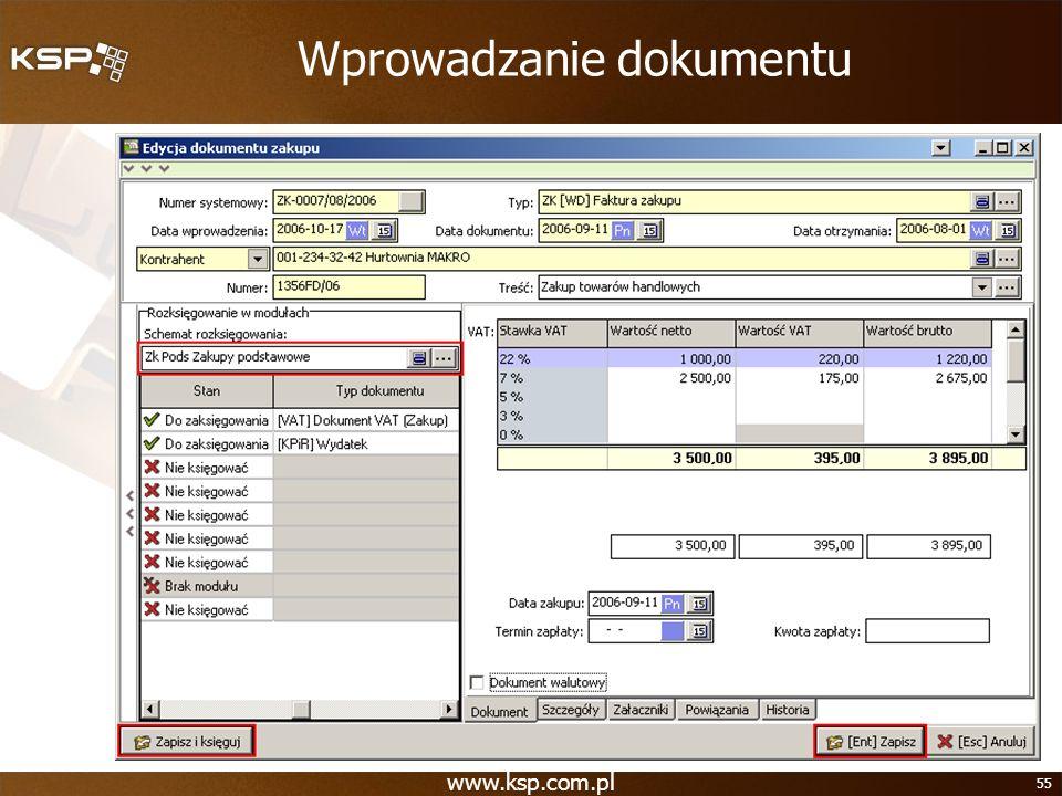 Wprowadzanie dokumentu