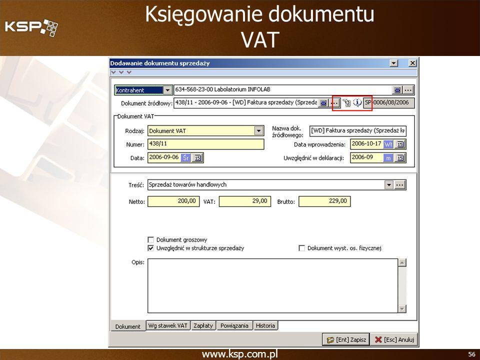 Księgowanie dokumentu VAT