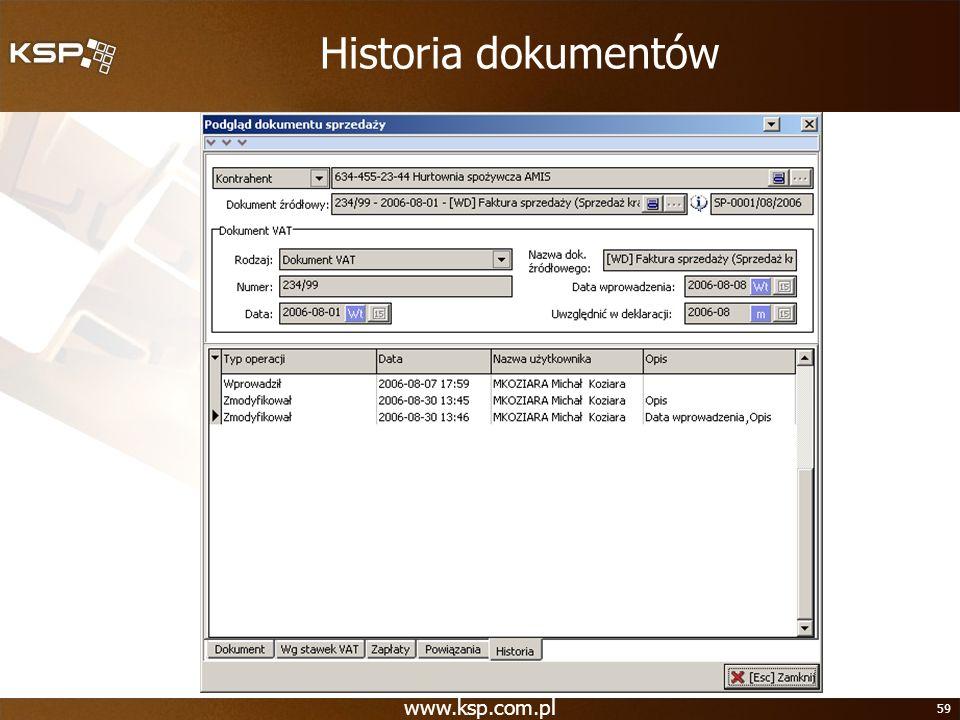 Historia dokumentów www.ksp.com.pl