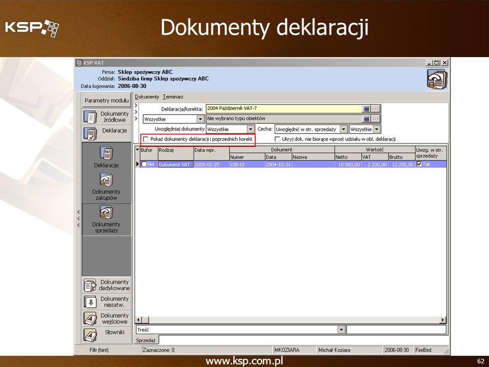 Dokumenty deklaracji www.ksp.com.pl