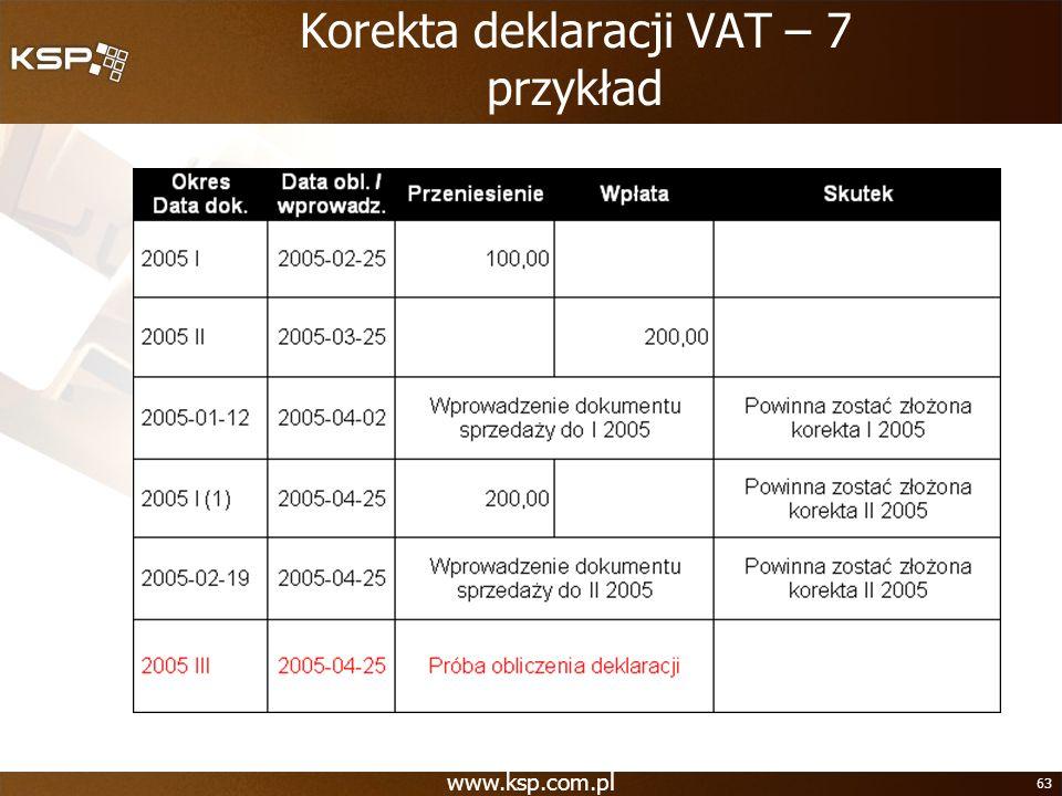 Korekta deklaracji VAT – 7 przykład