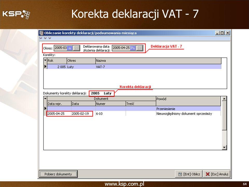 Korekta deklaracji VAT - 7