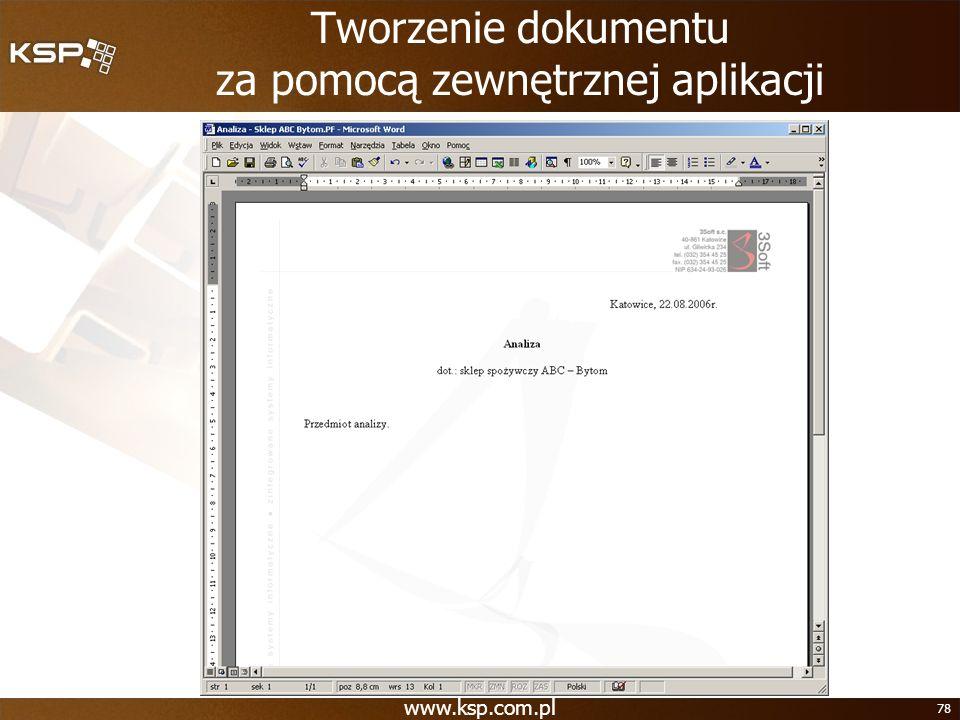 Tworzenie dokumentu za pomocą zewnętrznej aplikacji
