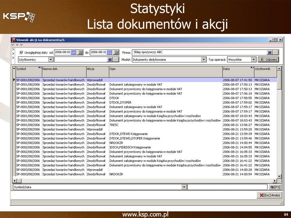 Statystyki Lista dokumentów i akcji