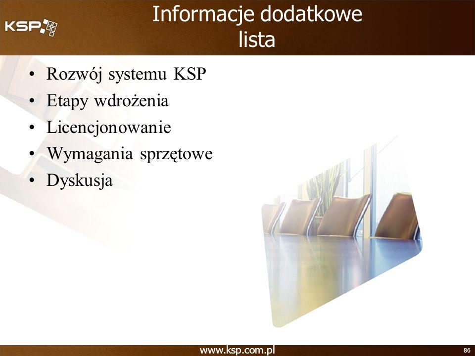 Informacje dodatkowe lista