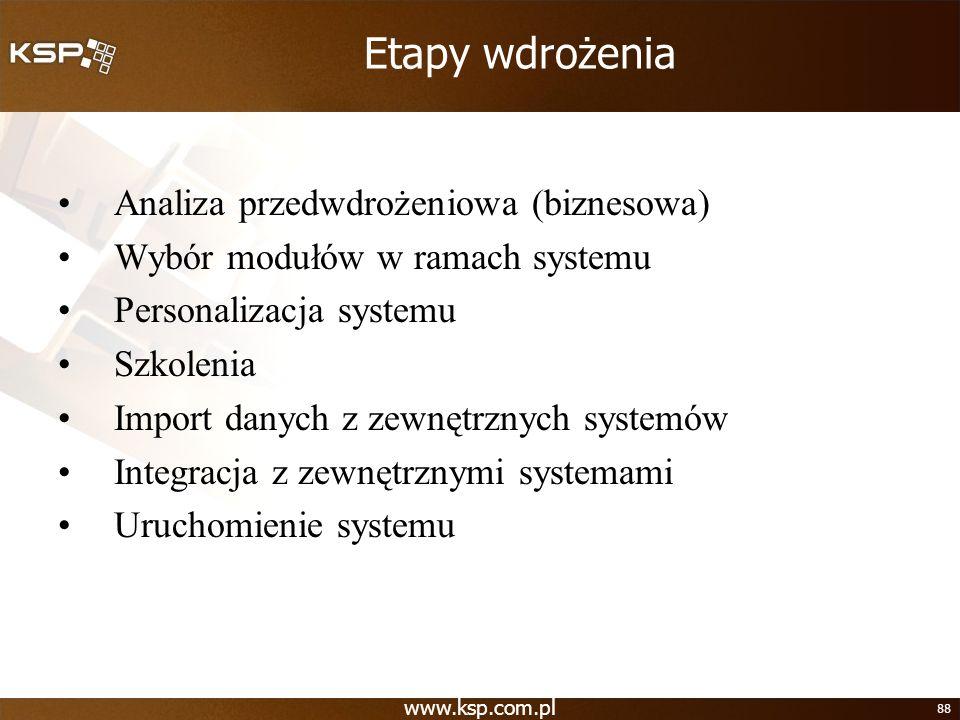 Etapy wdrożenia Analiza przedwdrożeniowa (biznesowa)