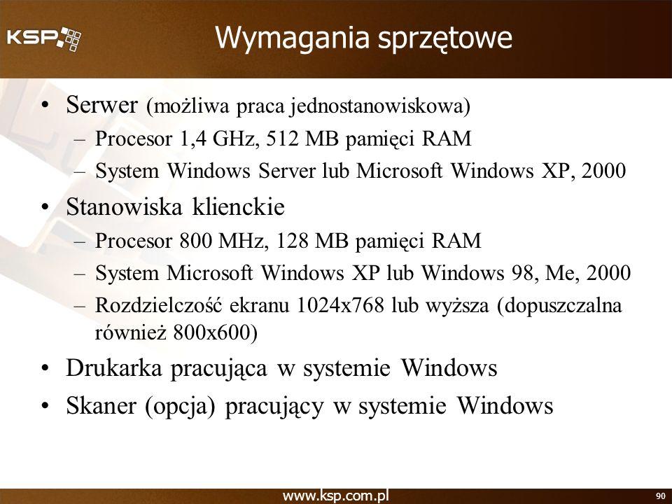 Wymagania sprzętowe Serwer (możliwa praca jednostanowiskowa)