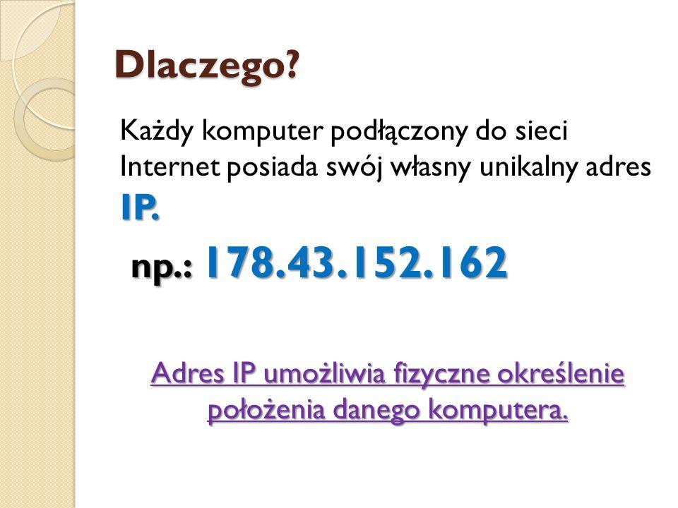 Adres IP umożliwia fizyczne określenie położenia danego komputera.