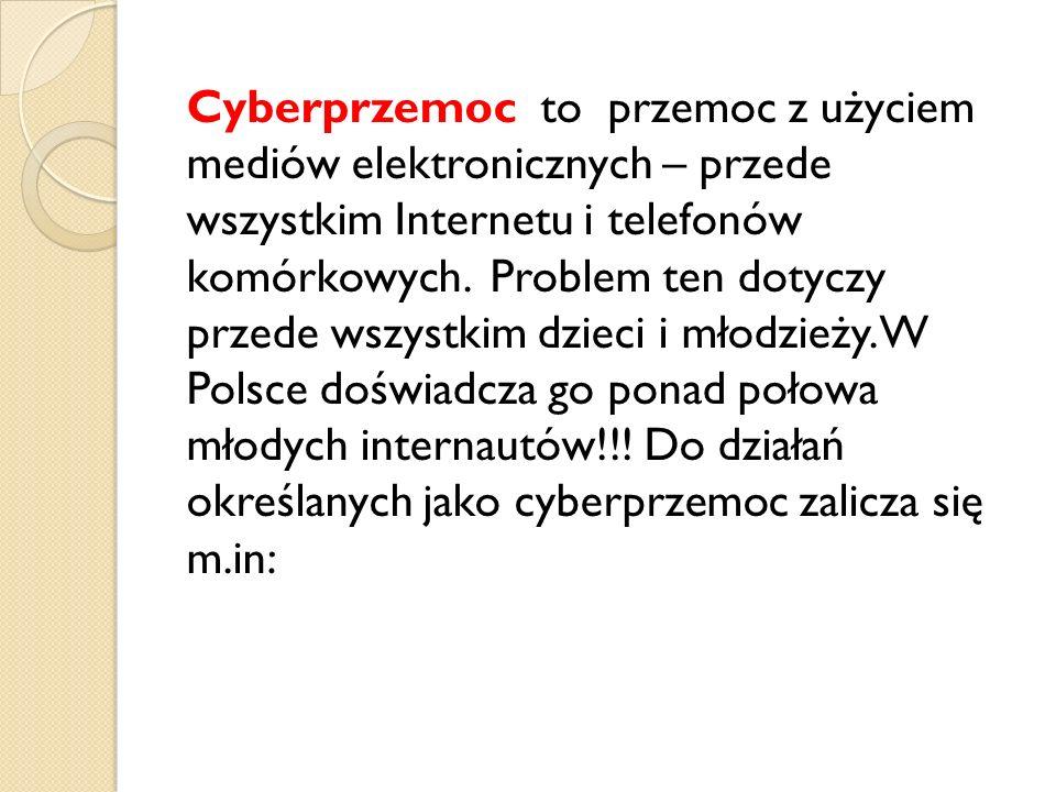 Cyberprzemoc to przemoc z użyciem mediów elektronicznych – przede wszystkim Internetu i telefonów komórkowych.