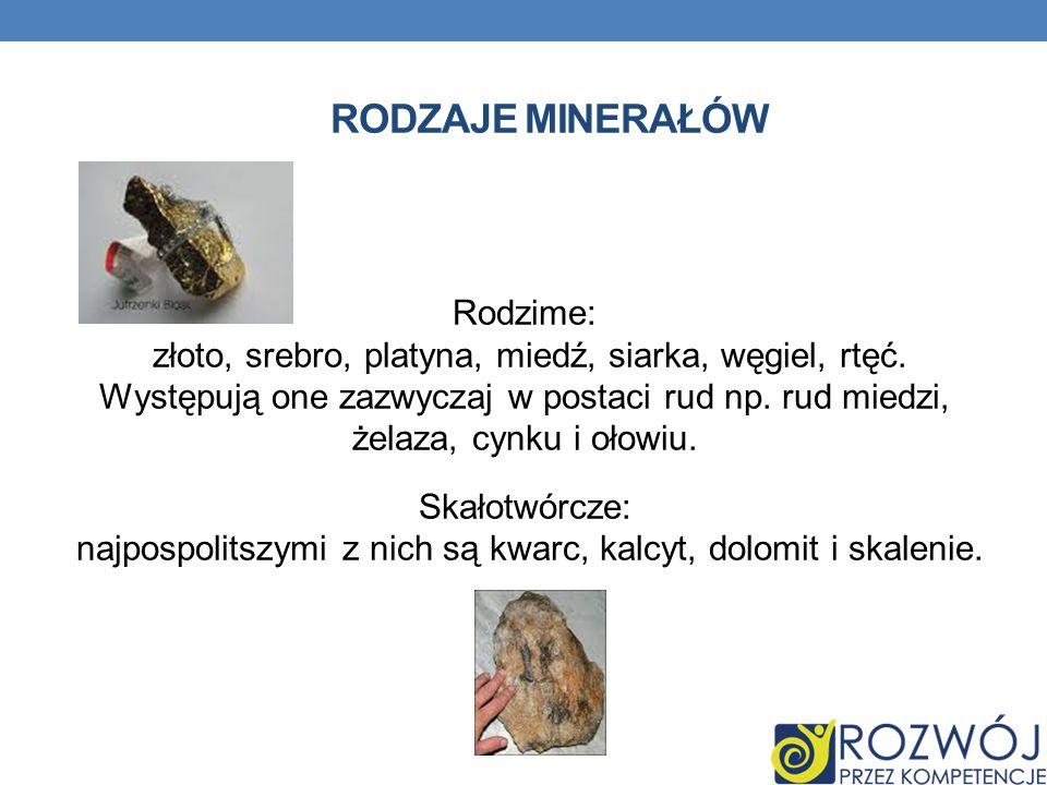Rodzaje minerałów