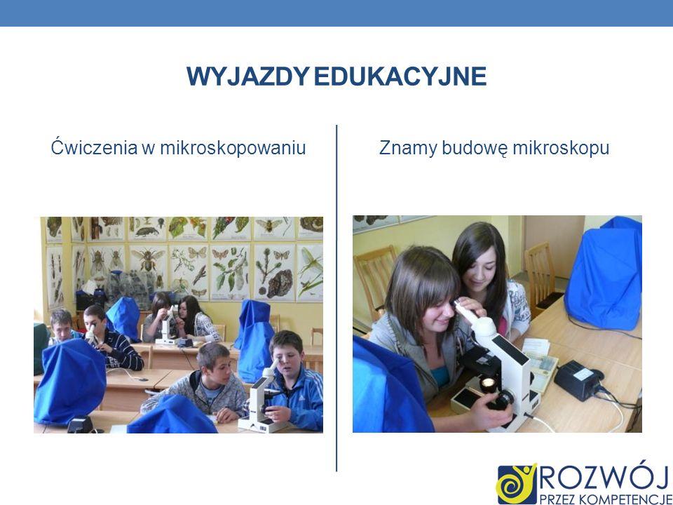 Wyjazdy edukacyjne Ćwiczenia w mikroskopowaniu Znamy budowę mikroskopu
