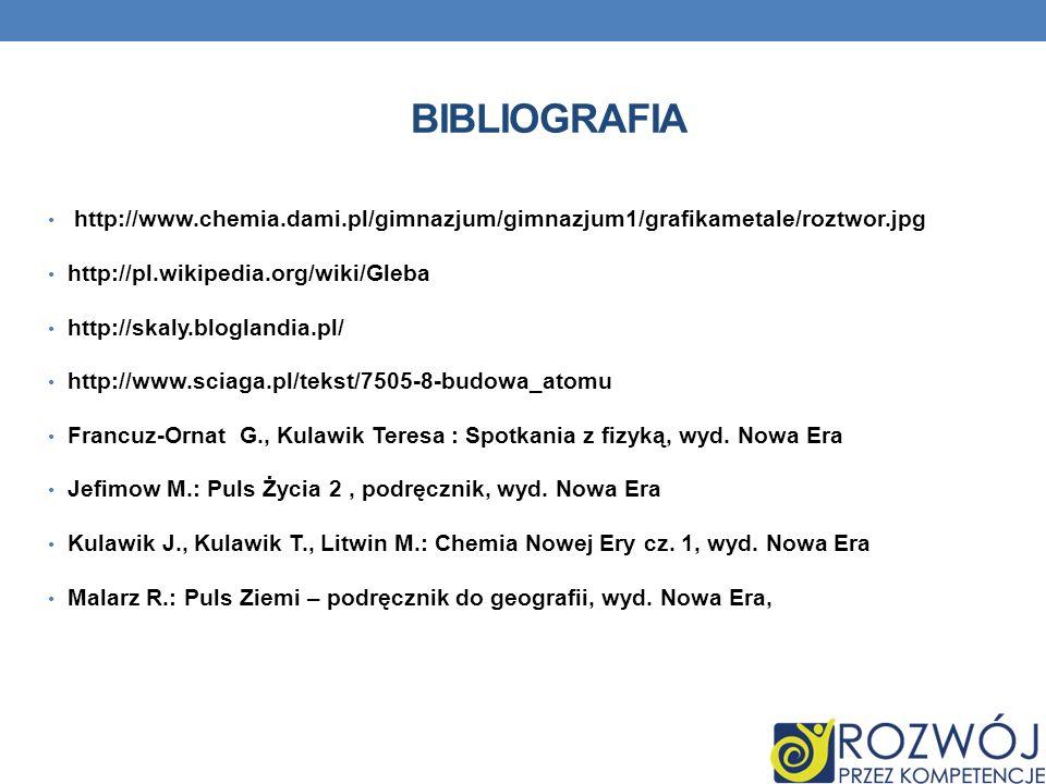 bibliografia http://www.chemia.dami.pl/gimnazjum/gimnazjum1/grafikametale/roztwor.jpg. http://pl.wikipedia.org/wiki/Gleba.