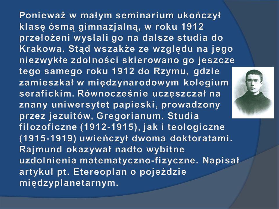 Ponieważ w małym seminarium ukończył klasę ósmą gimnazjalną, w roku 1912 przełożeni wysłali go na dalsze studia do Krakowa.