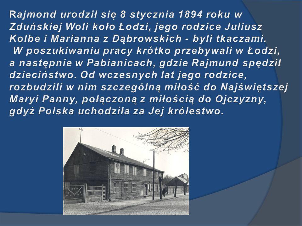 Rajmond urodził się 8 stycznia 1894 roku w Zduńskiej Woli koło Łodzi, jego rodzice Juliusz Kolbe i Marianna z Dąbrowskich - byli tkaczami.