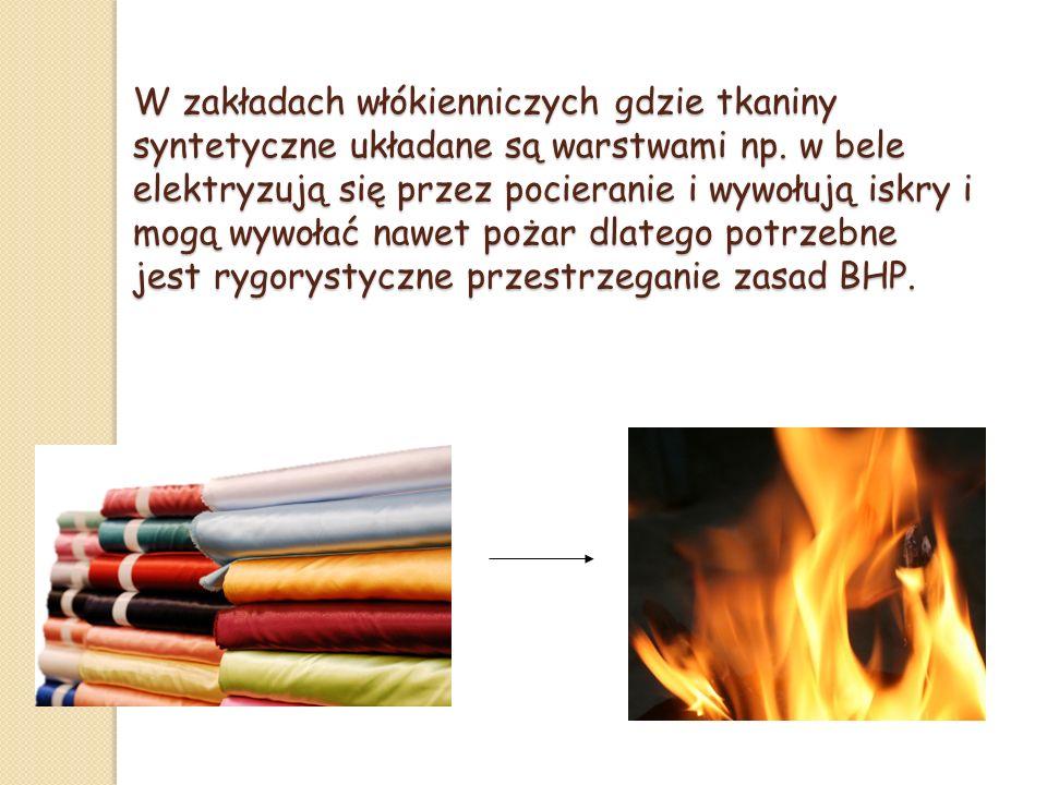 W zakładach włókienniczych gdzie tkaniny syntetyczne układane są warstwami np.